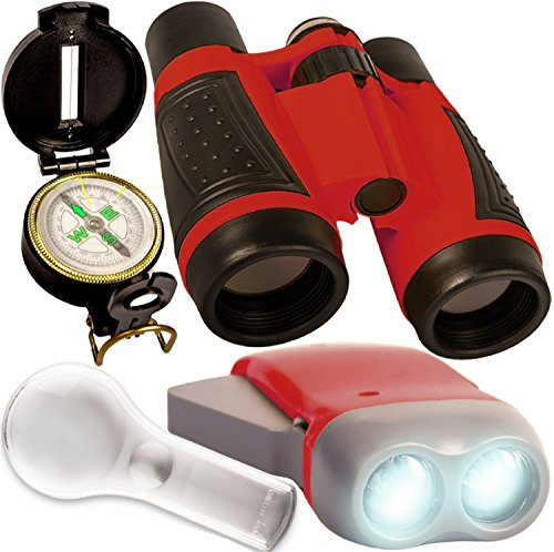 Kids binoculars - Outdoor adventure set - compact folding binoculars for kids, crank LED flashlight , spy glass , compass . For childrens bird watching , camping , pretend play - Educational toy (Compass Kit Education)