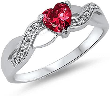 Simulated Ruby Heart & Cubic Zirconia Heart Infinity Band .925 Sterling Silver Ring Sizes 4-11 Rc104863
