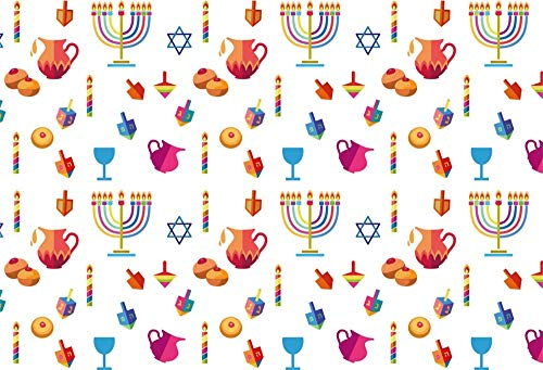 AOFOTO 9x6ft Jewish Religious Symbols Pattern Background Happy Hanukkah Decoration Teapot Dessert Bread Candles Candelabrum Holy Grail Rosh Hashanah Backdrop Photos Props Vinyl