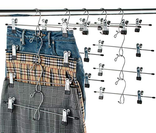 Heavy-Duty Add-On Skirt Hangers with Clips 12 Pack, Multi Stackable Add on Hangers, Adjustable Clip Pants Hanger, Skirt Hanger with Clips, Chrome Hook, Cascading Clip Hanger Jeans, Slacks, Bottoms ()