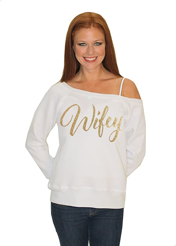 Classy Bride Wifey Sweatshirt with Gold Glitter - Off The Shoulder
