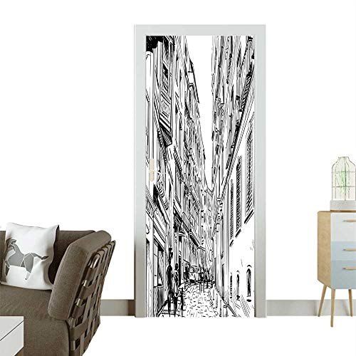 Door Sticker Scenery Ap ments and European Town Sketch Panorama Black White Removable Door Decal for Home DecorW23 x H70 INCH