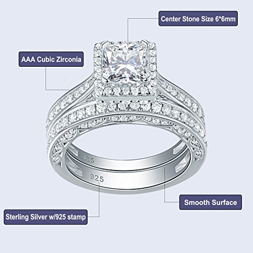 Newshe Princess White Cubic Zirconia Wedding Ring Set For Women 925 Sterling Silver Engagement Size (9) by Newshe Jewellery (Image #4)