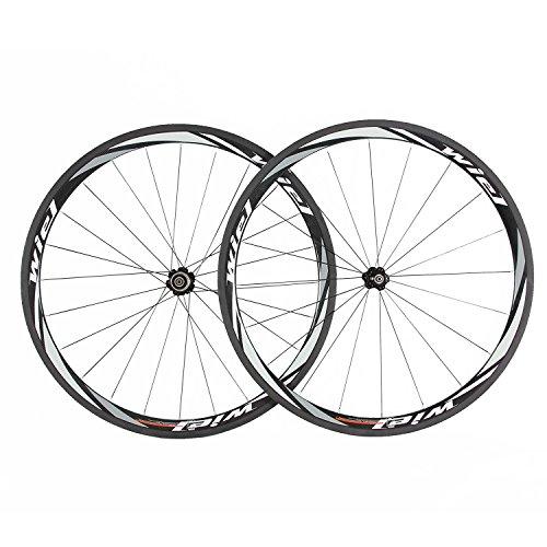Wiel 700c 38mm Carbon Tubular Road Bike Wheels Bicycle Wheelset for Shimano Gray White R38T (Black) ()