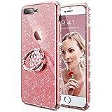 Cute iPhone 8 Plus Case, iPhone 7 Plus Case for Girls, Glitter Bling Phone Case Kickstand Diamond Rhinestone Bumper Ring Stand Sparkly Apple iPhone 7 Plus/8 Plus Case Girl Women - Rose Gold/Pink