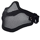 BlackC Home 2Pcs Mesh Mask Airsoft Hunting Tactical CS Protective Half Face Steel Net Mask
