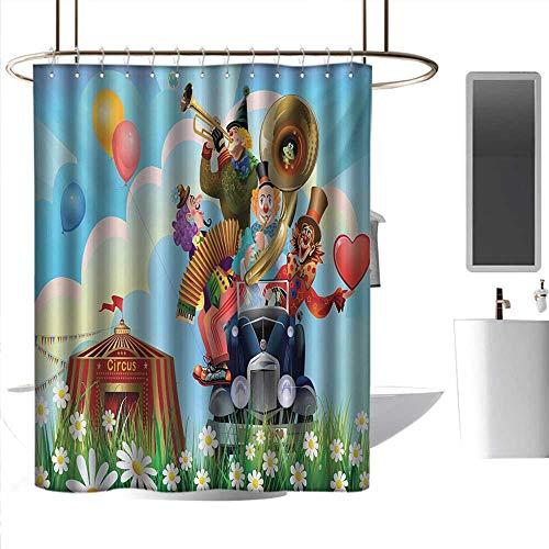 coolteey Shower Curtains Train Circus,Clowns Vintage Car Circus Big top Daisies Flowers Heart in Meadow Fun Design Art,Multicolor,W72 x L96,Shower Curtain for Men
