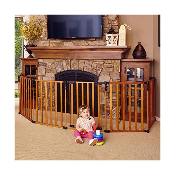 North States 3-in-1 Wood Superyard – 151″ Long Play Yard: Create a Play Yard or an Extra-Wide gate. Hardware Mount or freestanding. 6 Panels, 10 sq. ft. Enclosure (30″ Tall, Stained Wood)