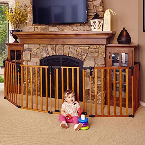 """3-in-1 Wood Superyard"" by North States: Creates an extra-wide gate or play yard. Hardware mount or freestanding. 6 panels, 10 sq. ft. enclosure (144″ long, 30″ tall, Color Stained Wood) For Sale"