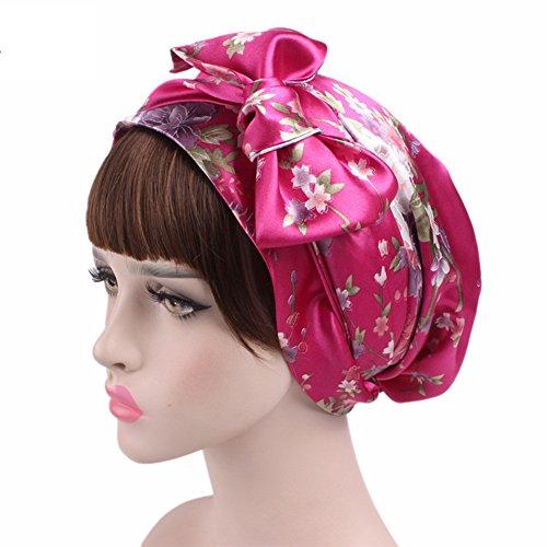 Gracmyron Turban Headwear for Women Hair Loss Chemo Hat Soft Satin Bow Sleep Hair Cap