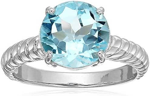 Sterling Silver Round Blue Topaz Ring