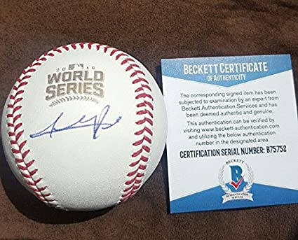 f666bea0a Addison Russell Autographed Signature 2016 World Series Baseball Chicago  Cubs with COA - Beckett Authentication