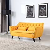 Mid Century Modern Tufted Linen Fabric Loveseat (Yellow)