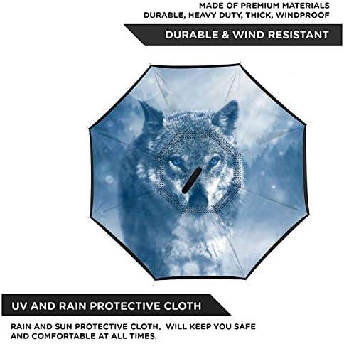 オオカミの野生動物 逆さ傘 逆折り式傘 車用傘 耐風 撥水 遮光遮熱 大きい 手離れC型手元 梅雨 紫外線対策 晴雨兼用 ビジネス用 車用 UVカット