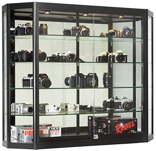 Wall-Mounted Tempered Glass And Black Aluminum Display Case Has Angled Front Design, 47-1/4 x 39-1/2 x 12-Inch, 3 Halogen Top Lights, And Locking Glass Doors - Used Glass Display Cases