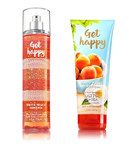 Bath Body Works Signature Collection Get Happy – White Peach Sangria Gift Set Fine Fragrance Mist Ultra Shea Body Cream