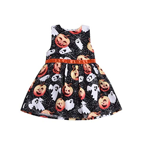 Suma-ma (12M-5T) Toddler Kids Baby Girl Sleeveless Cartoon Pumpkin Halloween Black Skirt ()