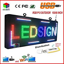 """P13 Fully Outdoor 15''x 40"""" FULL COLOR Programmable LED Sign Commercial IMAGE TEXT SCROLLING Message Board Display for Window"""