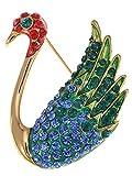 Alilang Stunning Sapphire Synthetic Ruby Red Crystal Rhinestone Swan Lake Princess Cute Pin Brooch