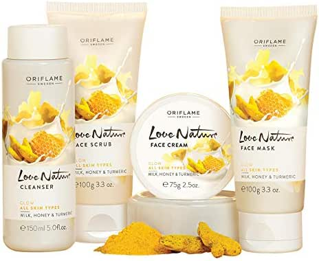 Oriflame New Love Nature Facial Kit Milk,Honey& Turmeric 4 pcs with cleanser,Scrub,Mask & Face Cream.