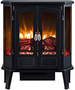 HEARTHPRO 5-Sided Infrared Stove Fireplace Heater   Electric Fireplace Stove Heater Freestanding Indoor, Realistic Flame Logs Effects and Overheating Safety (Black)