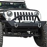 Black Textured Front Bumper Guard For 2007-2018 Jeep Wrangler JK Rock Crawler W winch Plate
