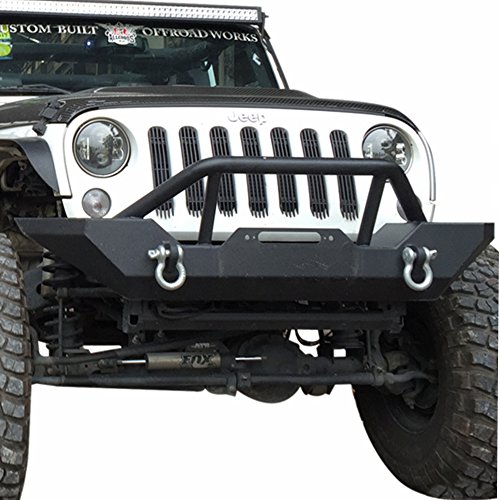 U Drive JK Front Bumper, Black Textured Rock Crawler Bumper for 2007-2018 Jeep Wrangler with Winch Plate and 2 D Rings ()