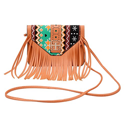 Design Purse - Turpro Muti-Functional Cross-Body Fringed Tribal Design Cell Phone Pouch Purse Bag with Detachable Shoulder Strap for 5.5