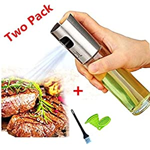 2 PC Olive Oil Sprayer Portable Kitchen Grill Cooking Oil Trigger Sprayer Bottle for BBQ/Cooking/Vinegar with FREE Oil Brush and Collapsible Silicone Funnel