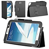 Manvex Slim and Compact Leather Folio Case Cover with stylus holder for the Samsung Galaxy Note 8.0 Tablet N5100 - Black