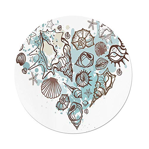 iPrint Polyester Round Tablecloth,Nautical,Hand Drawn Seashells Scallop Starfish Whelk Ocean Underwater Life Theme,Brown Warm Taupe Teal,Dining Room Kitchen Picnic Table Cloth Cover Outdoor Indoor