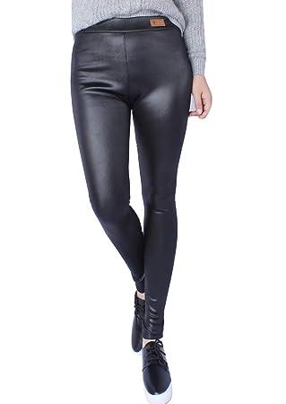Mujer Imitación de Cuero Polainas Pantalones Alta Cintura ...
