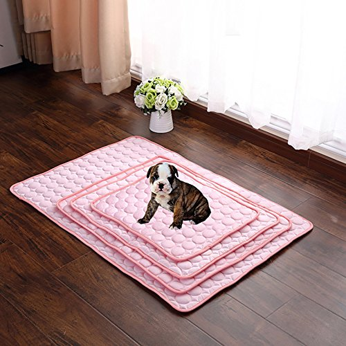 Nap Dog Crate Mat - Hoomall Summer Soft Pet Cooling Pad Cooling Mat for Dogs Cats Kennel Mat Breathable Pet Crate Bed Liner Mattress (L, Pink)