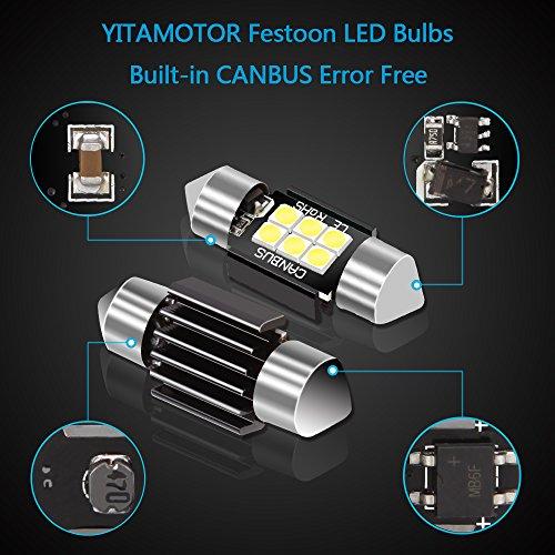 LEDKINGDOMUS 4 Pcs 36mm 1.5 Inch 6 SMD 3030 Canbus Error Free Festoon LED Bulb for Interior Car Lights Dome Map License Plate Trunk Light 6411 6413 6418 DE3423, Color White by LEDKINGDOMUS (Image #2)