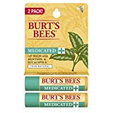 Burts Bees Lip Balm Burt's Bees 100% Natural Medicated Moisturizing Lip Balm with Menthol & Eucalyptus, 2 Tubes in Blister Box