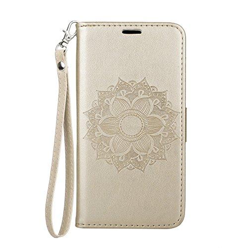 GHC Cases & Covers, Para Samsung Galaxy A5 2018 Caso Mandala Flor de grabación en relieve del soporte del cuero cubierta de la caja ( Color : Brown ) Gold