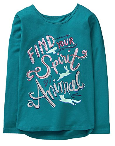 Gymboree Little Girls Dolman Sleeve Graphic Tee  Turquoise  S