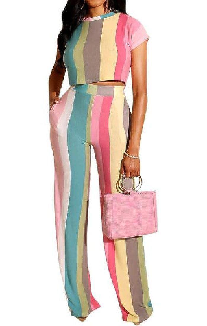 CRYYU Women 2 Piece Crop Tops Striped Jumpsuit Wide Leg Long Pants Outfits Sets