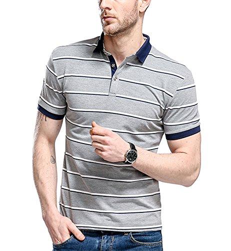 (おひまわり)Ohimawari メンズ ポロシャツ ボーダー 半袖 カジュアル ゴルフ シャツ おしゃれ ドライ 夏 切り替え ファッション