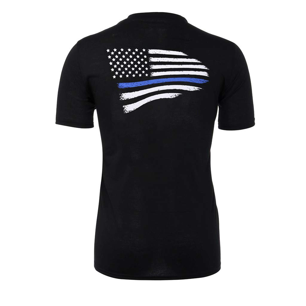 STORTO Mens US Flag Logo T-Shirt Crew Neck Short Sleeve Soft Casual Polo Shirts Tee Tops