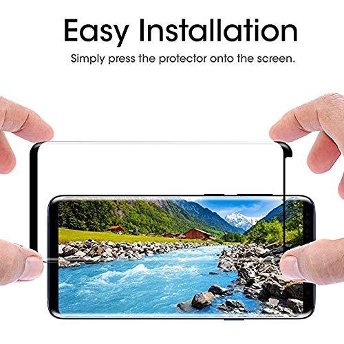 EcoPestuGo Compatible (Black) for Galaxy S9 Plus Tempered Glass Screen Protector, EcoPestuGo [2 Pack][Half Screen] Case Friendly,Anti-Scratch,Anti-Fingerprint,Bubble Free Compatible S9 Plus by EcoPestuGo (Image #1)