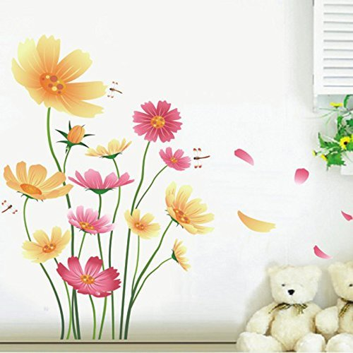 Amazon.com: Wall Decal Pink Flowers Blue Butterflies Home Sticker ...