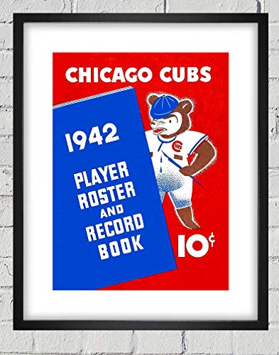 1942 Framed - 1942 Vintage Chicago Cubs Baseball Roster Cover - Digital Reproduction - Print or Matted Print or Framed Matted Print