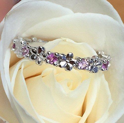 Flower Diamond Eternity Band, Daisy Flower Wedding Band, 14k White Gold Wedding Ring, Christmas gift for her, Pink Sapphires diamond ring (14k Gold Flower Band Ring)