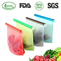 Reusable Silicone Food Bag,GEEKHOM 4 Pack Food Storage Bag Eco-Friendly, Healthy & Airtight and Leak Resistant for Solid or Liquid food Preservation Container Kitchen Cooking Utensil Versatile Cooking Bag
