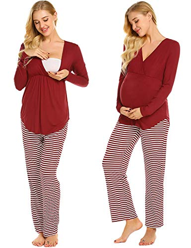 Plus Stripe Pant Set - Ekouaer Womens Maternity Nursing Pajama Set Nightdress Robe Set Stripes Long Pants (Wine Red Striped XL)