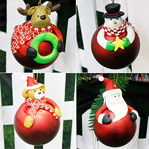 (Fellibay Christmas Balls Ornament Shatterproof Christmas Tree Balls Xmas Tree Hanging Decor Cartoon Balls Ornaments for Holiday Party Tree Dressing with Snowman/Santa Claus/Bear/Deer 4 in 1 Set)