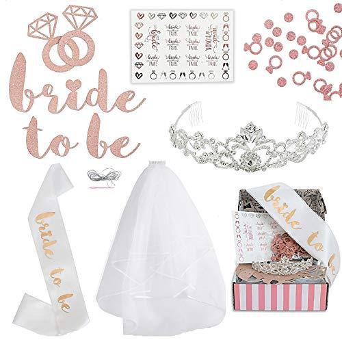 9b54346266b1 MODLUX Rose Gold Pink Bachelorette Party Decorations Kit - Bridal Shower  Supplies