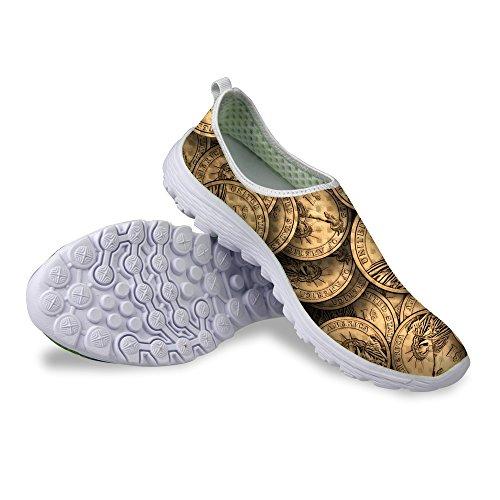 Per Te Disegna Scarpe Da Corsa Sneaker In Mesh Casual Unisex In Denim Con Stampa Dollaro Moneta Marrone