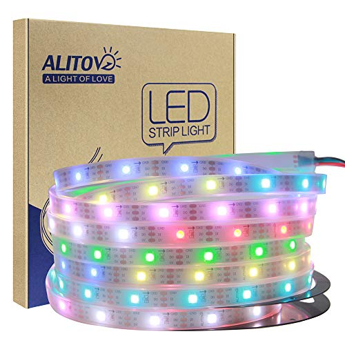 - ALITOVE 16.4ft 150 Pixels WS2812B Individually Addressable RGB LED Strip Light Dream Color 5050 RGB SMD Tube Waterproof IP67 White PCB DC 5V for Arduino Raspberry Pi Project